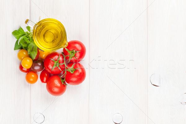 オリーブオイル トマト バジル 木製のテーブル のイタリア料理 料理 ストックフォト © karandaev