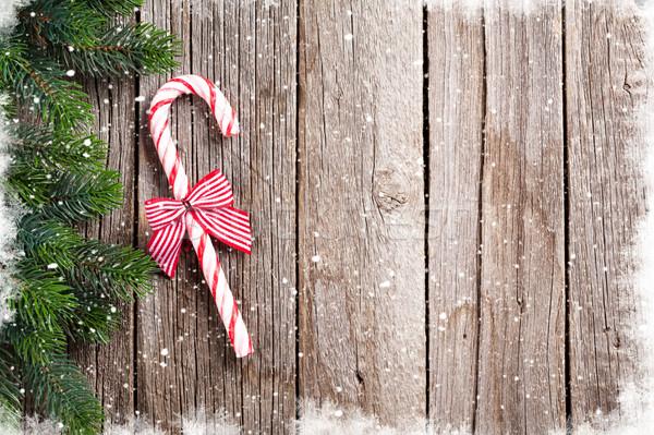 Weihnachten candy Zuckerrohr Holztisch top Stock foto © karandaev