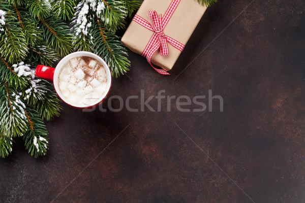 Karácsony forró csokoládé ajándék doboz fenyőfa mályvacukor felső Stock fotó © karandaev