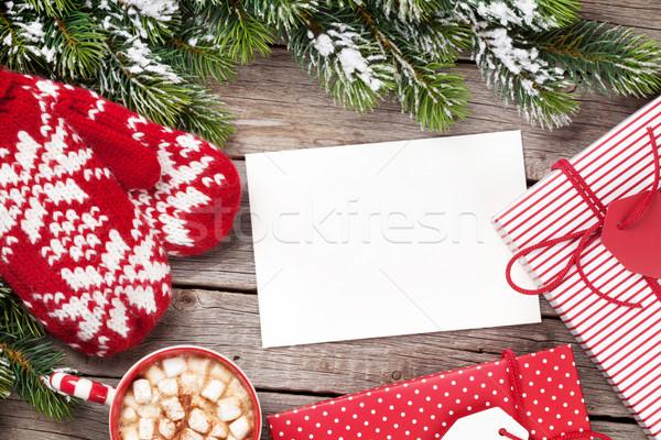 Noel tebrik kartı ağaç eldiveni sıcak çikolata Stok fotoğraf © karandaev