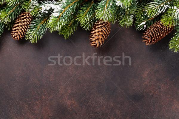 Stock fotó: Karácsony · hó · fenyőfa · kő · felső · kilátás