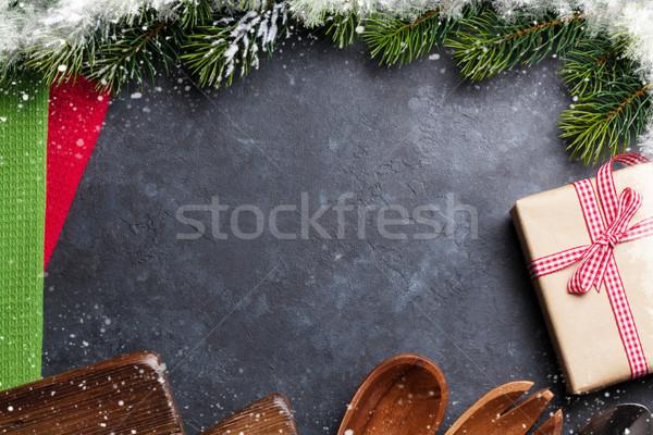 Christmas gotowania tabeli szkatułce przybory górę Zdjęcia stock © karandaev