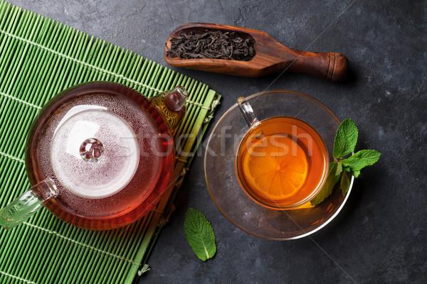 Taza de té tetera secar té cuchara piedra Foto stock © karandaev
