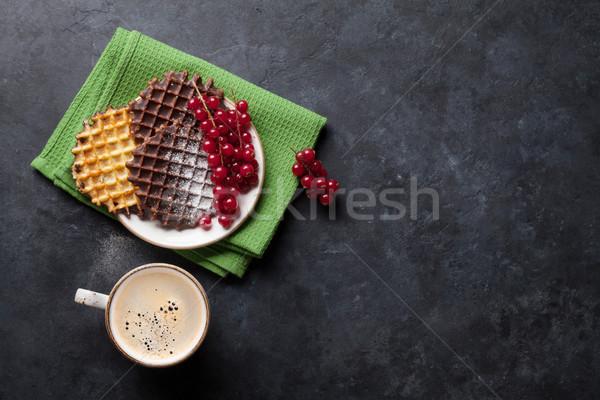 Caffè frutti di bosco top view copia spazio alimentare Foto d'archivio © karandaev