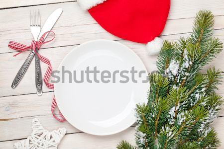 Karácsony vacsora tányér ezüst étkészlet fenyőfa felső Stock fotó © karandaev