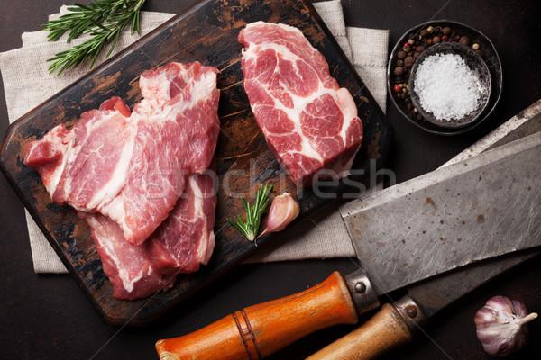 Nyers disznóhús hús főzés fűszer felső Stock fotó © karandaev