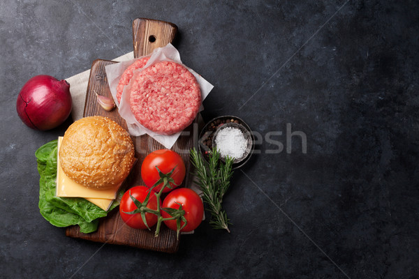 Stock photo: Tasty grilled home made burgers cooking