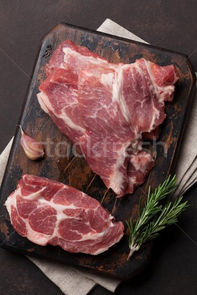 Greggio carne di maiale carne cottura top view Foto d'archivio © karandaev