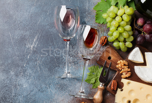 Wine, grape and cheese Stock photo © karandaev