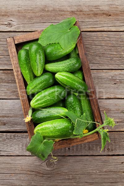 Vers tuin komkommers kruiden koken houten tafel Stockfoto © karandaev