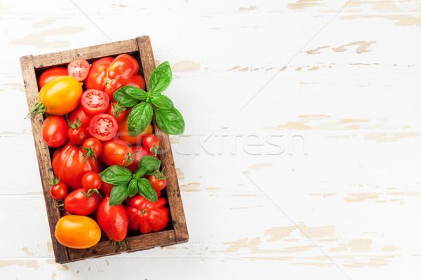 Stockfoto: Vers · tuin · tomaten · basilicum · koken · tabel