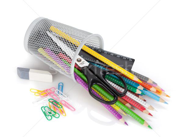 Foto d'archivio: Colore · matite · ufficio · strumenti · isolato