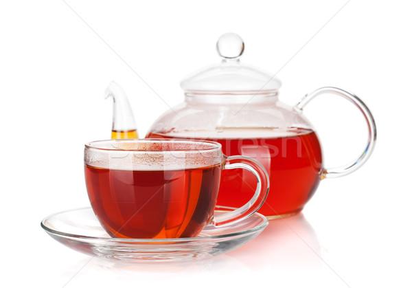 Szkła kubek czajniczek czarny herbaty odizolowany Zdjęcia stock © karandaev