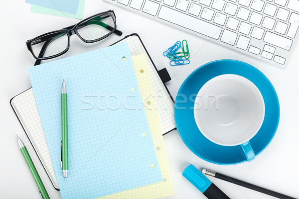 Office supplies, computed keyboard and coffee cup Stock photo © karandaev