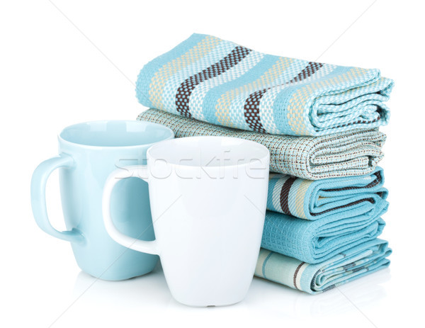 Kitchen towels and tea cups Stock photo © karandaev