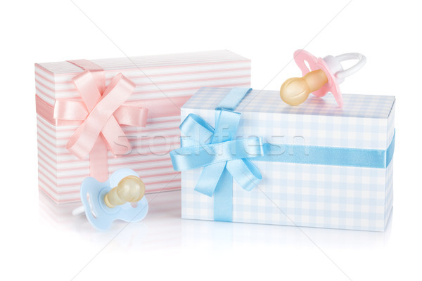 Gift box and pacifier for little boy and girl Stock photo © karandaev