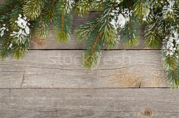 Christmas fir tree on wooden board background Stock photo © karandaev