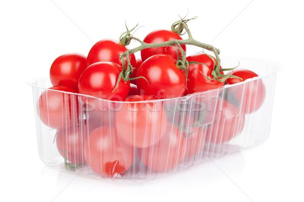 Pomodorini imballaggio isolato bianco frutta sfondo Foto d'archivio © karandaev