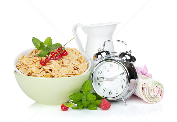 Stock photo: Fresh corn flakes with berries