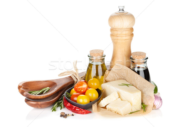 パルメザンチーズ トマト ハーブ スパイス 孤立した 白 ストックフォト © karandaev