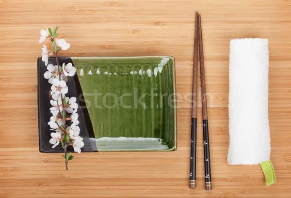 пусто пластина палочки для еды сакура филиала бамбук Сток-фото © karandaev