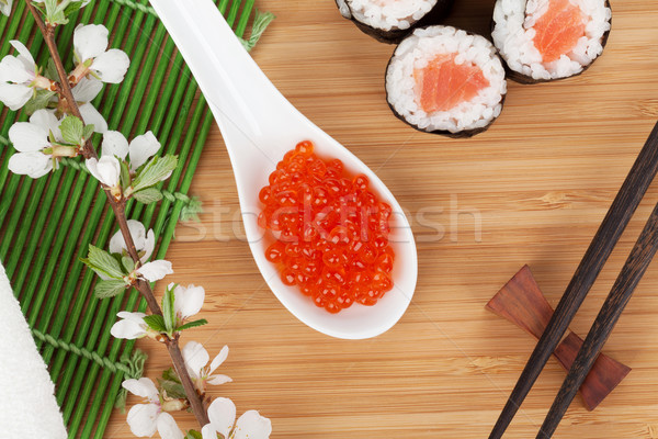 Rosso caviale sushi set sakura ramo Foto d'archivio © karandaev