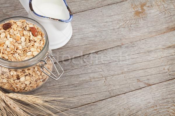 朝食 ミューズリー ミルク 木製のテーブル コピースペース ストックフォト © karandaev