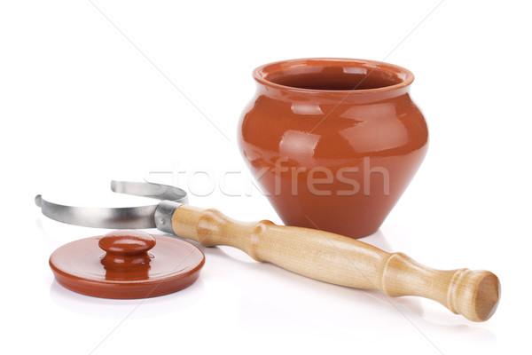 Clay pot and holder Stock photo © karandaev
