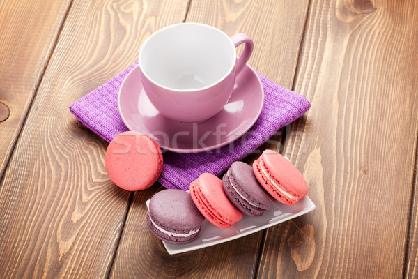 Colorful macaron cookies and coffee cup Stock photo © karandaev