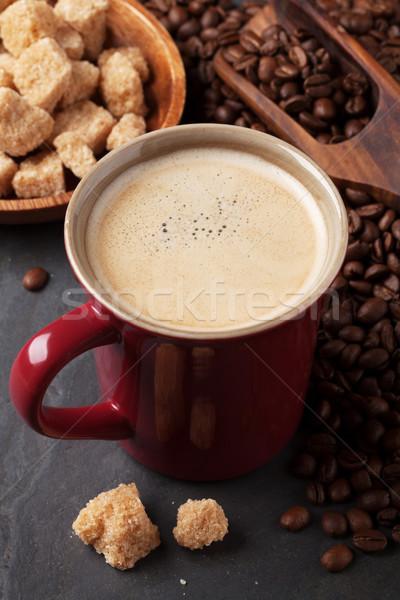Kahve fincanı fasulye esmer şeker taş tablo doku Stok fotoğraf © karandaev
