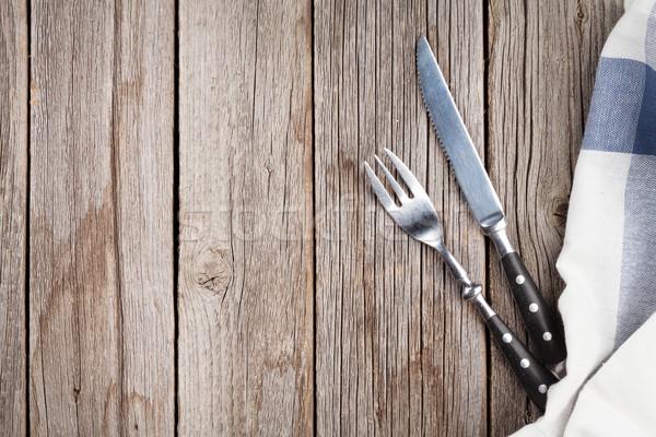 Ezüst étkészlet fa asztal felső kilátás copy space terv Stock fotó © karandaev