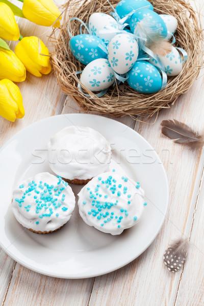 Stock fotó: Húsvét · citromsárga · tulipánok · színes · tojások · hagyományos