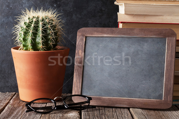 Könyvek kaktusz kréta tábla szöveg vissza az iskolába Stock fotó © karandaev