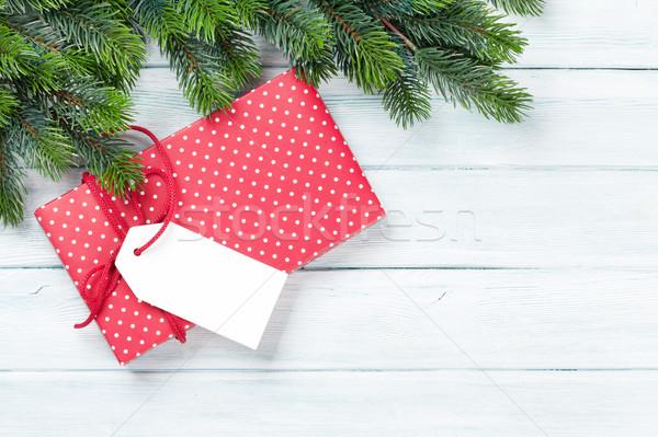 Navidad caja de regalo superior vista Foto stock © karandaev