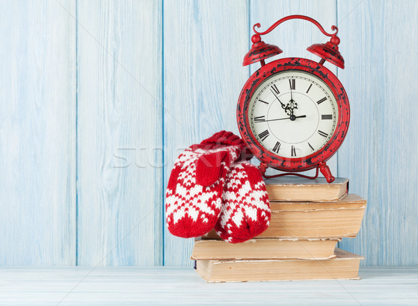 Christmas alarm clock and mittens Stock photo © karandaev