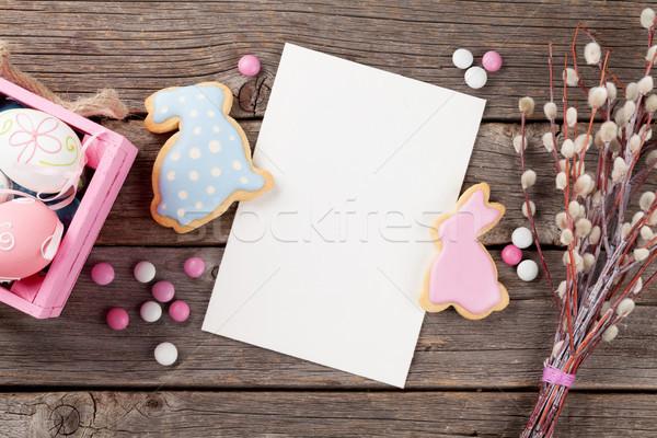 Pasen peperkoek cookies eieren houten tafel konijnen Stockfoto © karandaev