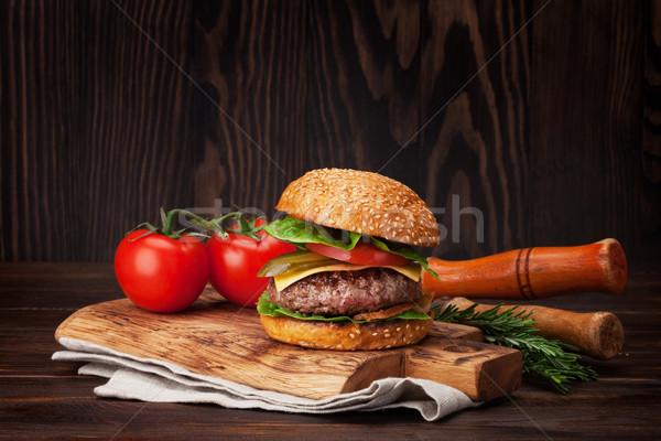 Tasty grilled home made burger Stock photo © karandaev
