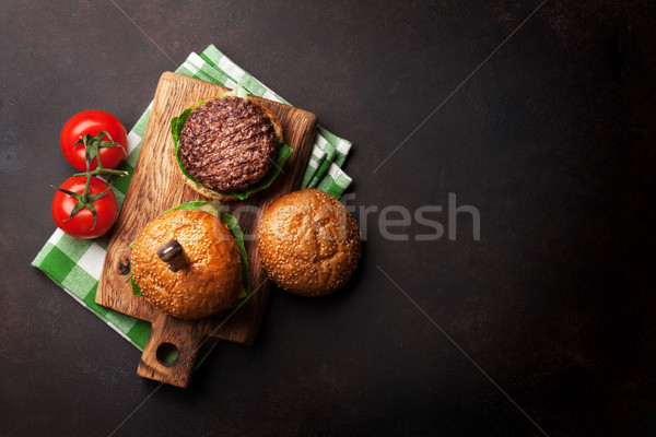 Lezzetli ızgara sığır eti domates peynir Stok fotoğraf © karandaev