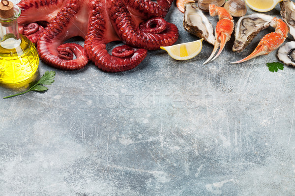 Frutos do mar polvo lagosta cozinhar topo Foto stock © karandaev
