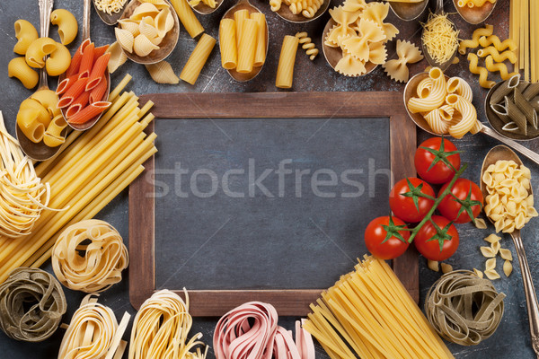 ストックフォト: パスタ · 黒板 · 料理 · 先頭 · 表示