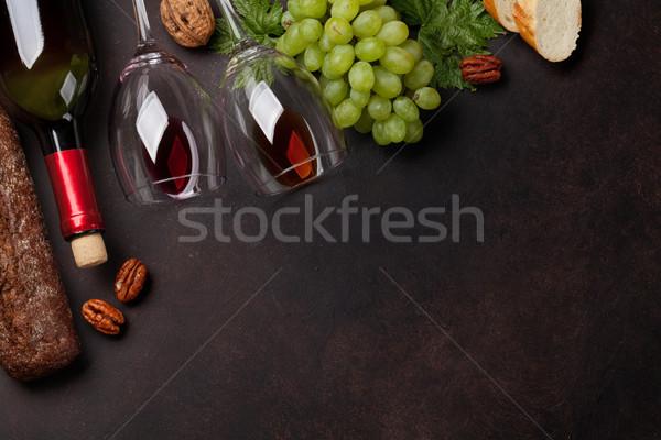 Stok fotoğraf: şarap · üzüm · ekmek · şarap · şişesi · gözlük · fındık