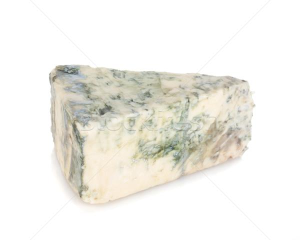 Pezzo soft formaggio tipo gorgonzola isolato bianco alimentare Foto d'archivio © karandaev