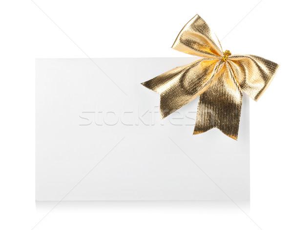 Vacío tarjeta de regalo arco decoración aislado blanco Foto stock © karandaev