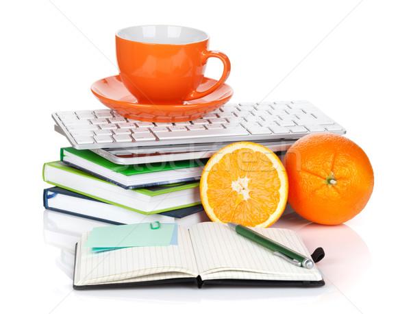 オレンジ 果物 コーヒーカップ 事務用品 孤立した 白 ストックフォト © karandaev