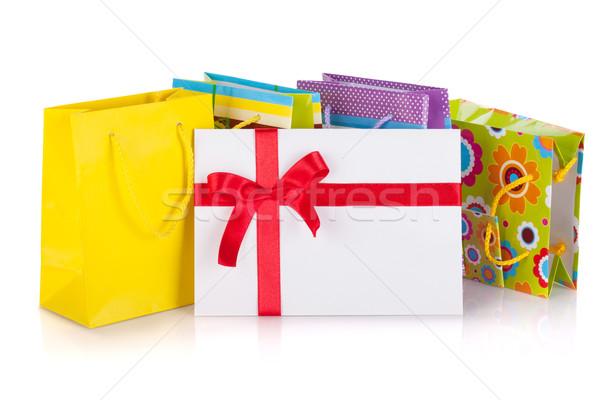 Stockfoto: Gekleurd · geschenk · zakken · vak · brief · geïsoleerd