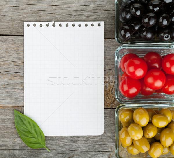 Notepad carta ricette frutti tavolo in legno legno Foto d'archivio © karandaev