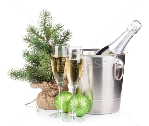 Stok fotoğraf: Noel · şampanya · şişe · kova · gözlük