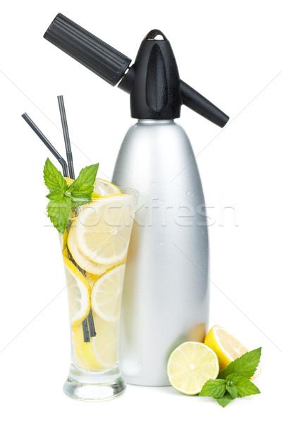 Glass with homemade lemonade and siphon Stock photo © karandaev