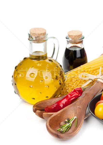 Olio d'oliva aceto pomodori pasta isolato bianco Foto d'archivio © karandaev