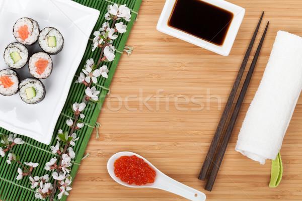 Sushi maki set fresche sakura ramo Foto d'archivio © karandaev